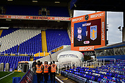 Match day score board showing todays teams and Stewards walking during the EFL Sky Bet Championship match between Birmingham City and Aston Villa at St Andrews, Birmingham, England on 29 October 2017. Photo by Dennis Goodwin.