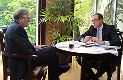 August 10, 2017 - Dar es Salaam, Tanzania - BILL GATES, American philanthropist, responds to a question during an interview by OMAR BEN YEDDER, Group Publisher and Managing Director for IC Publications. . Visiting Tanzania, Gates discussed his  vision for Africa's development and announced a 5 million investment that will digitize Tanzania's health information systems to improve health data in the country one of a number of grants his foundation will make in Tanzania. (Credit Image: © Ric Francis via ZUMA Wire)