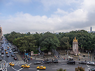 Columbus Circle and the entrance to Central Park with the Maine Monument, seen from the Christopher Columbus monument