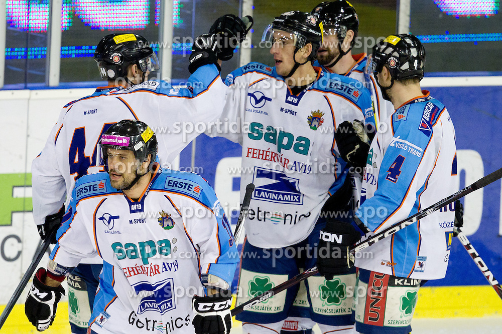 Team SAPA Fehervar AV19 celebrate during ice-hockey match between HDD Tilia Olimpija and SAPA Fehervar AV19 at sixth match in Quarterfinal  of EBEL league, on March 1, 2012 at Hala Tivoli, Ljubljana, Slovenia. (Photo By Matic Klansek Velej / Sportida)