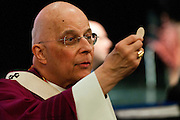 Chicago Archbishop Francis Cardinal George leads a Eucharistic Celebration during the annual Parish Leadership Day hosted at Mother McAuley Liberal Arts High School in Evergreen Park. &copy; 2013 Brian J. Morowczynski ViaPhotos.<br /> <br /> For non-exclusive internal use by Mother McAuley High School, Evergreen Park, Il. Further use including paid placements and/or third party distribution may be negotiated separately. Contact ViaPhotos at 708-602-0449 or brian@viaphotos.com.