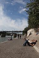 France. Paris. 1st district. Seine river quays. the quay du Louvre at sunset , /   le quai du Louvre au coucher du soleil