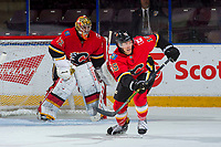 PENTICTON, CANADA - SEPTEMBER 11: Spencer Foo #15 of the Calgary Flames skates against the Winnipeg Jets on September 11, 2017 at the South Okanagan Event Centre in Penticton, British Columbia, Canada.  (Photo by Marissa Baecker/Shoot the Breeze)  *** Local Caption ***