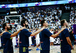 Sasa Zagorac of Slovenia, Ziga Dimec of Slovenia, Vlatko Cancar of Slovenia and Luka Doncic of Slovenia listening to the National anthem during basketball match between National Teams of Finland and Slovenia at Day 3 of the FIBA EuroBasket 2017 at Hartwall Arena in Helsinki, Finland on September 2, 2017. Photo by Vid Ponikvar / Sportida
