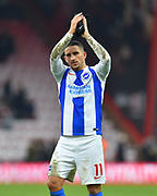 Anthony Knockaert (11) of Brighton and Hove Albion applauds the travelling fans as he celebrates the 3-1 win over Bournemouth at full time during the The FA Cup 3rd round match between Bournemouth and Brighton and Hove Albion at the Vitality Stadium, Bournemouth, England on 5 January 2019.