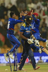 September 17, 2018 - Abu Dhabi, United Arab Emirates - Afghanistan cricketer Mujeeb Ur Rahman celebrates after taking a wicket during the 3rd cricket match of Asia Cup 2018 between Sri Lanka and Afghanistan at the Sheikh Zayed Stadium,Abu Dhabi, United Arab Emirates. 09-17-2018. (Credit Image: © Tharaka Basnayaka/NurPhoto/ZUMA Press)
