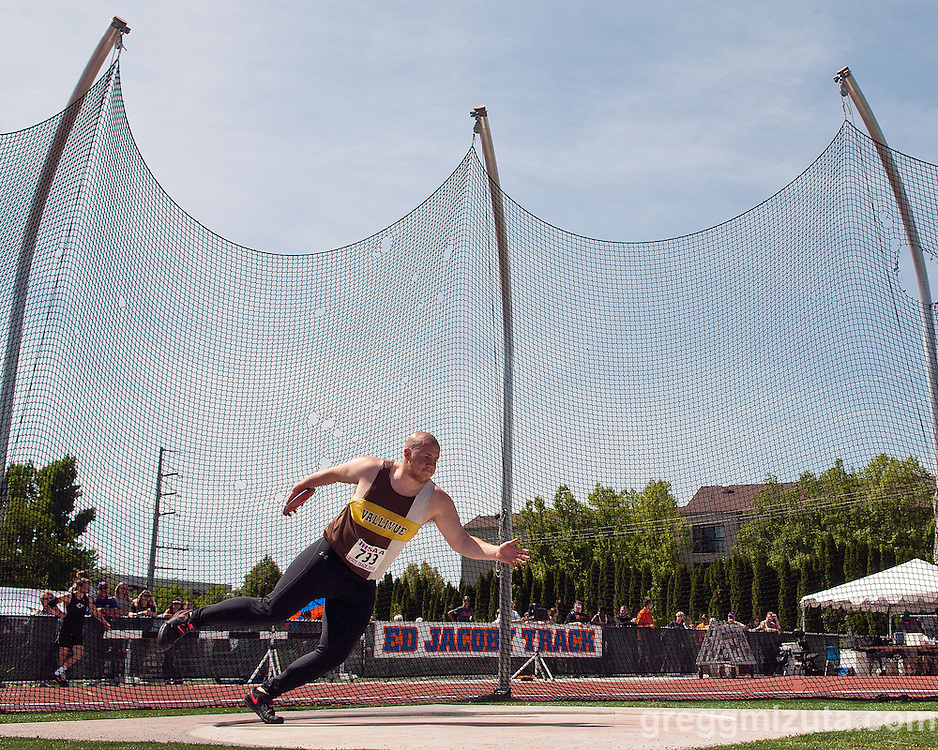 Vallivue senior Marcus Choate throws the discus during the Idaho 5A State Track & Field Championships at Dona Larsen Park, Boise, Idaho on May 17, 2014. Choate finished fifth with a throw of 138-08.