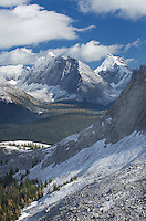 Fresh autumn snowfall on the Kanansskis Range seen from Burstall Pass, Kananaskis Country Alberta