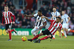 Ryan Bertrand of Southampton sliding tackle on Stephane Sessegnon of West Bromwich Albion - Mandatory by-line: Jason Brown/JMP - 07966386802 - 16/01/2016 - FOOTBALL - Southampton, St Mary's Stadium - Southampton v West Bromwich Albion - Barclays Premier League