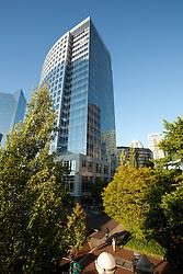 North America, United States, Washington, Bellevue, Pedestrian Corridor and skyscraper