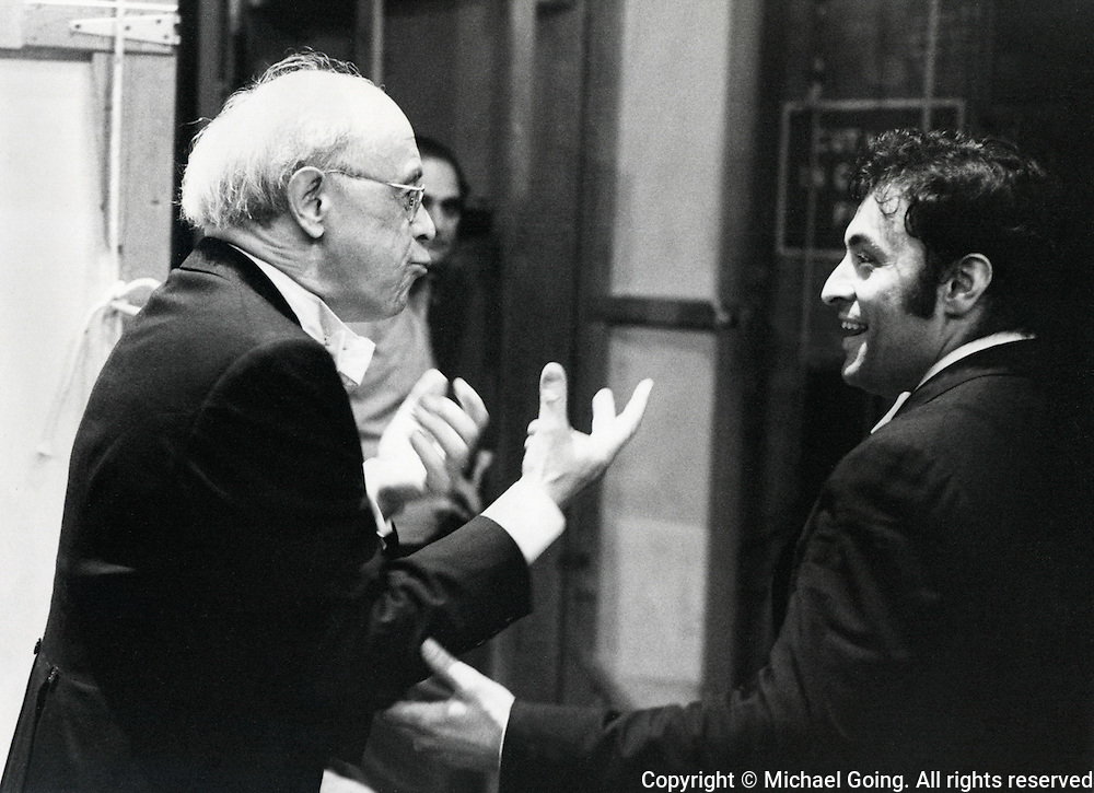 Rudolph Serkin &amp; Zubin Mehta back stage waiting for curtain call after performing as guest pianist LA Philharmonic April 1973 Zubin Mehta conducting: Penderecki de Natura Sonoris ll*** <br /> Mozart: Piano Concerto in F, K.459<br /> Brahms: Piano Concerto No 1
