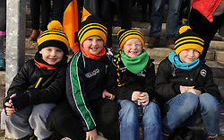 Young Louisburgh supporters Ross and Sean McConnell with Dylan and Conor O&rsquo;Reilly at the Connacht Football final in Kiltoom.<br /> Pic Conor McKeown