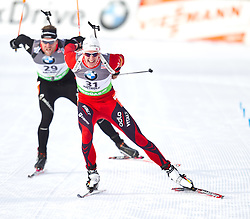 20.01.2011, Südtirol Arena, Antholz, ITA, IBU Biathlon Worldcup, Antholz, Sprint Men, im Bild dritter Lars Berger (NOR) // Lars Berger (NOR) third place during IBU Biathlon World Cup in Antholz, Italy, EXPA Pictures © 2011, PhotoCredit: EXPA/ J. Feichter