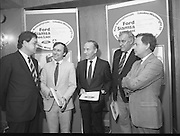 """Ford Siamsa Cois Laoi..1985..17.06.1985..06.17.1985..17th June 1985..At a press luncheon in Dublin, the names of the forthcoming artists for the Siamsa Cois Laoi music festival were announced. The artists include,. Kris Kristofferson,Louden Wainwright III,.Stocktons Wing and The Wolfe Tones..The Ford sponsored festival takes place in Parc Ui Chaoimh,Cork City,on the 28th of July.This is the second year of a three year sponsorship deal.It is hoped that after the success of last years'event that this year will be bigger and better than ever..Mr Kieven,Chairman and M.D. of Ford Ireland stated """"The 1984 Ford Siamsa was Ford's first association with Ireland's Premier Folk Music Festival..Ford were very pleased with the outstanding success that was achieved and that the friendly co-operation of everyone involved helped to ensure a memorable day""""...Pictured at the announcement of the feature artists were,.Mr Hartmut Kieven,Chairman and Managing Director,Ford Ireland,Mr Frank Murphy,Secretary,Cork County Board,Mr Con Murphy, Chairman,Cork County Board,Mr Donal O'Sullivan,Chairman,Parc Ui Chaoimh,Grounds committee and Mr Oliver Barry the event promoter...Parc Ui Chaoimh is the GAA home of Cork Football and Hurling."""