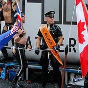 NLD/Amsterdam/20120804 - Canalparade tijdens de Gaypride 2012, Mr. B. boot met Mr. Euro Rubber