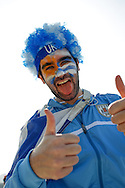 A Uruguay fan outside the ground before the 2014 FIFA World Cup last 16 match at Maracana Stadium, Rio de Janeiro, Brazil.<br /> Picture by Andrew Tobin/Focus Images Ltd +44 7710 761829<br /> 28/06/2014