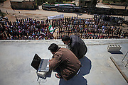 Media activists set up a satellite uplink to video livestream a protest gathering of 500 women and men to demonstrate against syrian Assad regime in the village of Bashirija which was beeing attacked by syrian Army in early April, leaving serveral people dead.