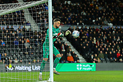 Derby County goalkeeper Ben Hamer  makes a save during the EFL Sky Bet Championship match between Derby County and Fulham at the Pride Park, Derby, England on 21 February 2020.