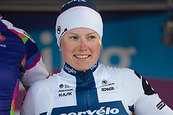 Lotta Lepistö (FIN) of Cervélo-Bigla Cycling Team on the podium of Stage 1b of the Healthy Ageing Tour - a 77.6 km road race, starting and finishing in Grijpskerk on April 5, 2017, in Groeningen, Netherlands.