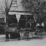 The JC Fox Grocery Store located at 627 East Jefferson St. in South Bend, Indiana just purchased a new Studebaker wagon in this c. 1910 image.