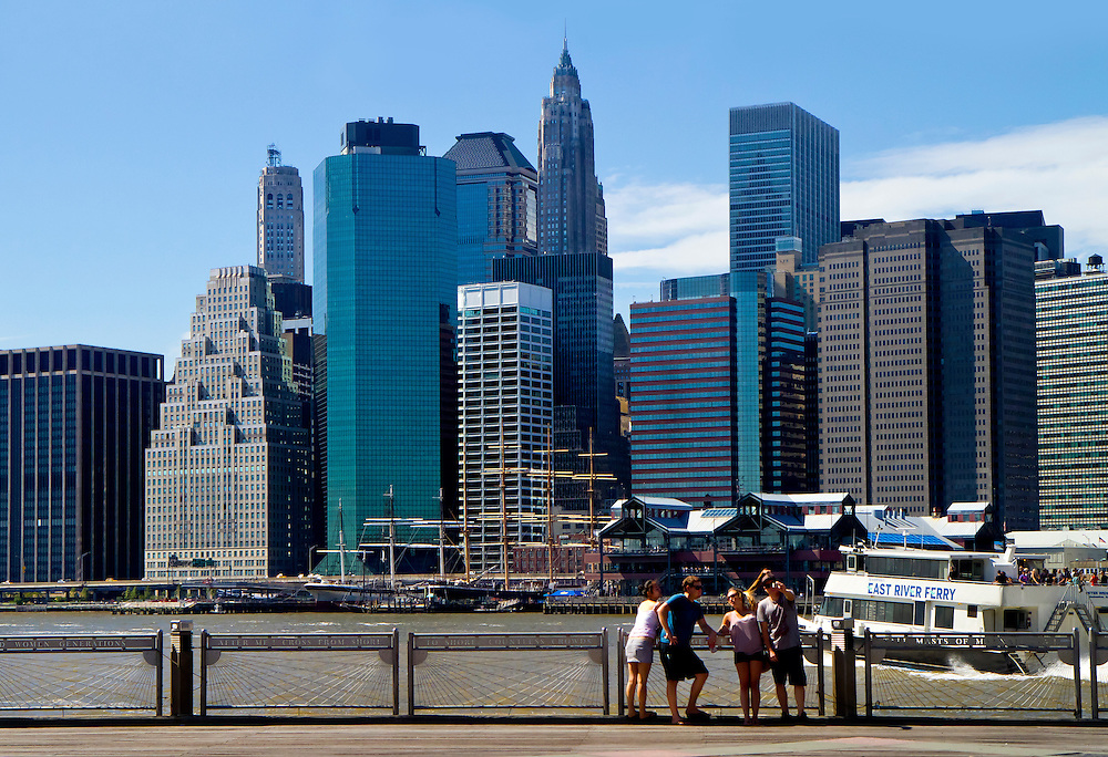 Very popular spot in Brooklyn Heights, looking towards Manhattan over the East River. The old Trade Centers used to be in the left center of this image. Work on the New Trade Center had no reach high enough to be visible yet. 2011.