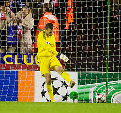 LIVERPOOL, ENGLAND - Wednesday, December 9, 2009: Liverpool's goalkeeper Diego Cavalieri looks dejected after conceding an AFC Fiorentina equalising goal during the UEFA Champions League Group E match at Anfield. (Photo by David Rawcliffe/Propaganda)