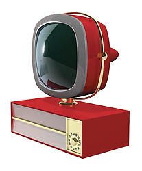 A Retro 50's/60's era television fashioned in the style of the Philco Predicta series at a 3/4º angle