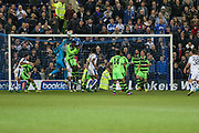 Forest Green Rovers goalkeeper Sam Russell(23) punches the ball during the Vanarama National League match between Tranmere Rovers and Forest Green Rovers at Prenton Park, Birkenhead, England on 11 April 2017. Photo by Shane Healey.