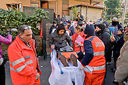 Rome, Italy. 20th January 2016<br /> Francesca precarious worker and Santo his mate ill with multiple sclerosis have been evicted for non-payment from the house where they lived in the Torreveccchia district on the outskirts of Rome. In the pictured: Santo is taken to the hospital by the Red Cross