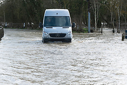 ©Licensed to London News Pictures 18/02/2020<br /> Yalding, UK. A van taking a risk in flood water. Flood warnings remain in place across the UK with more bad weather and rain expected. The village of Yalding in Kent has been flooded for the second time in 60 days. The area was flooded a few days before Christmas last year. Photo credit: Grant Falvey/LNP
