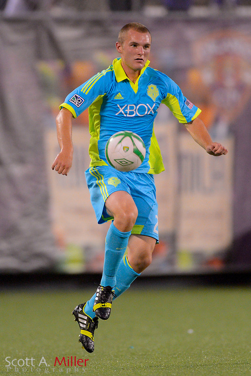 Seattle Sounders forward Will Bates (28) brings the ball upfield ball during a USL Pro soccer game against the Orlando City Lions at the Citrus Bowl on Aug. 11, 2013 in Orlando, Florida. <br /> <br /> &copy;2013 Scott A. Miller