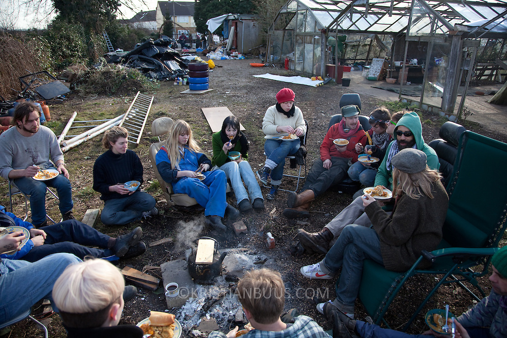 Activists and local residents in Sipson have squatted the former garden center Berkeley Nurseries on the site of the proposed 3rd runway at Heathrow. They clear the site of decades old rubbish to turn it back into a community run nursery producing fruit and vegetables. The project is called Transition Heathrow and all are welcome to participate.