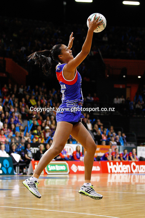 Northern Mystic captain Maria Tutaia in action during the ANZ Championship netball match - Waikato BOP Magic v Northern Mystics at Claudelands Arena, Hamilton, New Zealand on Saturday 20 April 2014.  Photo:  Bruce Lim / www.photosport.co.nz