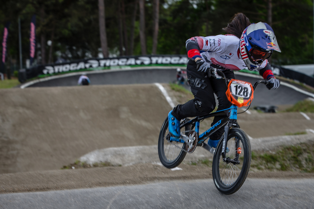 #128 (HATAKEYAMA Sae) JPN during round 3 of the 2017 UCI BMX  Supercross World Cup in Zolder, Belgium,