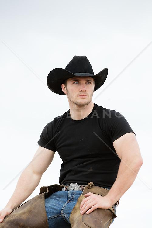 portrait of a rugged cowboy