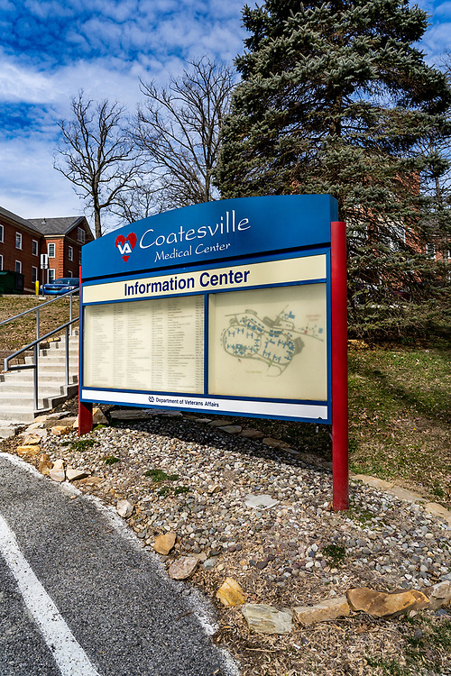 Coatesville, PA / USA - February 24, 2020: An Information Center sign at the US Department of Veterans Affairs Medical Center in Coatesville PA.