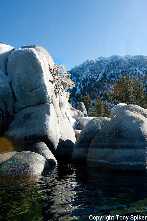 """""""Sand Harbor 4"""" - A photograph of a winter morning at Sand Harbor, on the Eastern Shore of Lake Tahoe"""