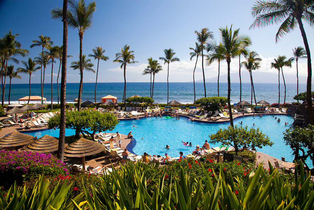 The swimming pool area at the Hyatt Regency Maui, which is just steps from the ocean, in Kaanapali Maui, Hawaii