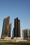 New skyscrapers along the Western Corniche under construction. The two in the middle and on the left are burnt out before being finished.