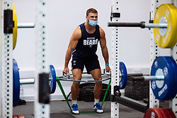 Henry Purdy in action in the gym as Bristol Bears start to use their new almost completed Training centre - Rogan/JMP - 08/07/2020 - RUGBY UNION - Beggar Bush Lane - Bristol, England.
