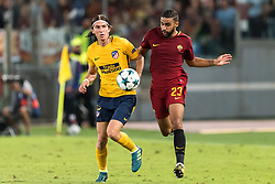 (L-R) Filipe Luis of Club Atletico de Madrid, Gregoire Defrel of AS Roma during the UEFA Champions League group C match match between AS Roma and Atletico Madrid on September 12, 2017 at the Stadio Olimpico in Rome, Italy.