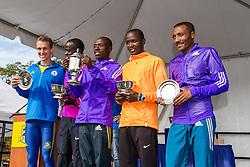 men's awards podium, Ashe, Sambu, Salel, Ngetich, Assefa