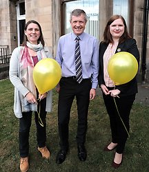 "Scottish Liberal Democrats celebrate English local election results with ""champagne moment"" and confetti cannons, Friday 3rd May 2019<br /> <br /> Scottish Liberal Democrat leader Willie Rennie and European election candidates celebrate the big gains made by Liberal Democrat colleagues overnight in the English local elections and send a message that in every corner of the UK, Liberal Democrats are the party of Remain,  leading the way in fighting to make the chaos of Brexit stop.<br /> <br /> Pictured: Willie Rennie with two candidates for the EU elections, Catrina Bhatia (left) and Vita Zaporozcenko (right)<br /> <br /> Alex Todd 