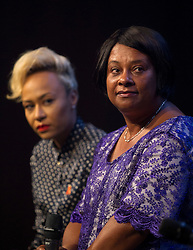 © Licensed to London News Pictures. 18/06/2013. London, UK. The mother of murdered teenager Stephen Lawrence, Doreen Lawrence (R) is seen with singer Emeli Sande during a question and answer session held at a press conference for 'Unity - A Concert for Stephen Lawrence', in London today (18/06/2013). The concert will be held in aid of the Stephen Lawrence Charitable Trust, which helps young people from disadvantaged backgrounds, on the 29th of September 2013 at the O2 arena in Greenwich, London. Photo credit: Matt Cetti-Roberts/LNP