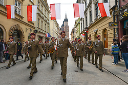 May 3, 2019 - Krakow, Poland - Hundreds take part of the patriotic march from Wawel Hill trough Krakow's Old Town on Polish Constitution Day. The Constitution of 3 May, 1791, was the world's second-oldest codified national constitution, but remained in force only for less than 19 months. By 1795, the Second and Third Partitions of Poland ended the existence of the sovereign Polish state. (Credit Image: © Artur Widak/NurPhoto via ZUMA Press)