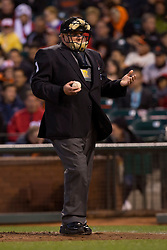 SAN FRANCISCO, CA - MAY 21: MLB umpire Bruce Dreckman #1 holds a baseball during the fourth inning between the San Francisco Giants and the Washington Nationals at AT&T Park on May 21, 2013 in San Francisco, California. The San Francisco Giants defeated the Washington Nationals 4-2 in 10 innings. (Photo by Jason O. Watson/Getty Images) *** Local Caption *** Bruce Dreckman