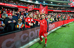 ADELAIDE, AUSTRALIA - Monday, July 20, 2015: Liverpool's Joe Allen meets the supporters after the 2-0 victory over Adelaide United during a preseason friendly match at the Adelaide Oval on day eight of the club's preseason tour. (Pic by David Rawcliffe/Propaganda)