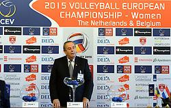 12-11-2014 BEL: Loting EK volleybal 2015 vrouwen, Antwerpen<br /> In het Antwerpse stadhuis werd door de Nederlandse-, Belgische volleybalbond en de CEV de loting voor het EK vrouwen verricht / CEV president Andre Meyer