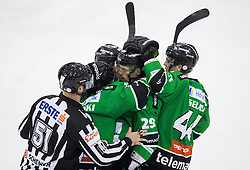 25.01.2015, Hala Tivoli, Ljubljana, SLO, EBEL, HDD Telemach Olimpija Ljubljana vs EHC Liwest Linz, 43. Runde, in picture players of Olimpija celebrate after scoring 5th goal during the Erste Bank Icehockey League 43. Round between HDD Telemach Olimpija Ljubljana and EHC Liwest Linz at the Hala Tivoli, Ljubljana, Slovenia on 2015/01/25. Photo by Vid Ponikvar / Sportida