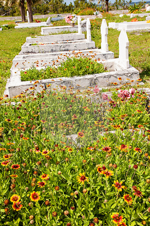 Town cemetery in the village of New Plymouth, Green Turtle Cay, Bahamas.